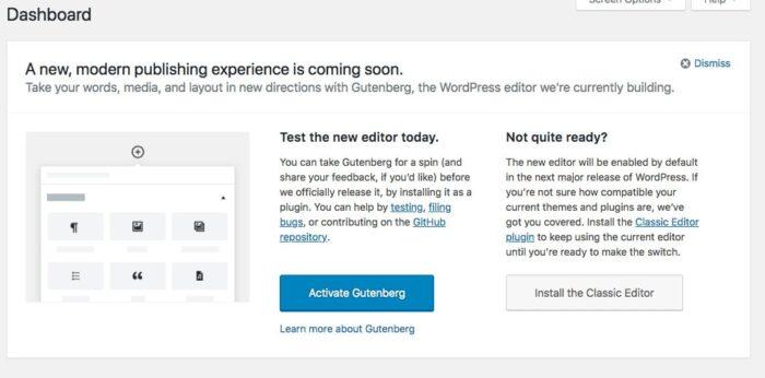 Screenshot oproep voor de Gutenberg editor voor WordPress